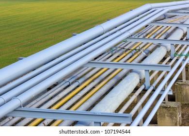 Pipeline tubes on green field