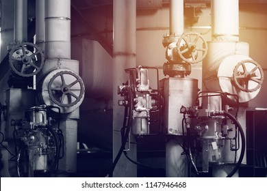 Pipeline and valve of industrial with vintage effect