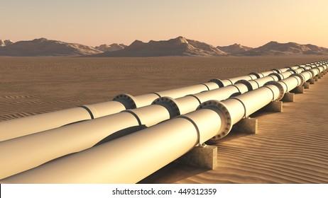 Pipelines in the desert - 3D rendering