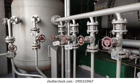 Pipelines and fittings of thermal equipment. High pressure steam lines. Industrial equipment. Thermal power plant.