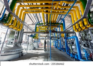 Pipelines of an oil refinery from the inside.