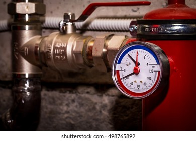 Pipelines with pressure gauge water pressure, Central heating system close-up
