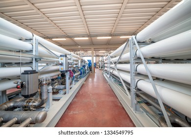 Pipelines of a water purification plant.