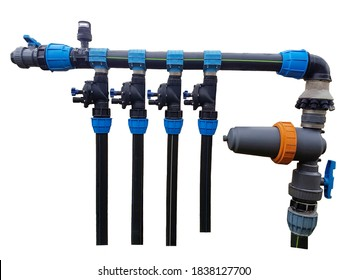 pipes and couplings of an irrigation water isolate on white background
