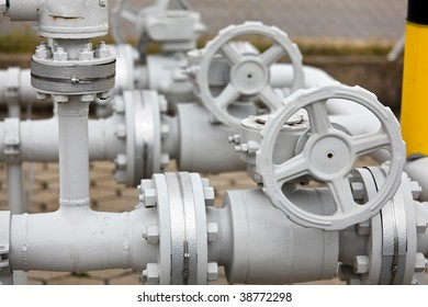 Pipes of an industrial gas line