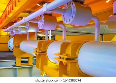 Pipes. Oil and gas complex. Industrial premises. Compressors Gas Pipeline. Gasification of production. Gas processing. Compressor station in production. Pipeline. Gasification system.