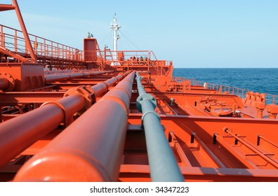 Pipes on the deck of the ship - crude oil tanker