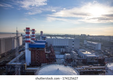 pipes of thermal power plant and and city