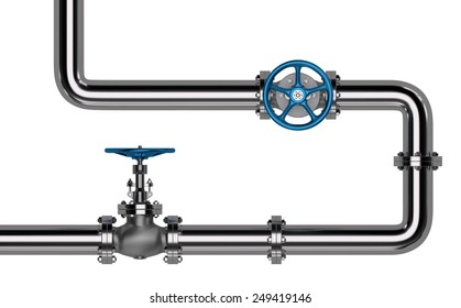 Pipes with Valves isolated. 3D render