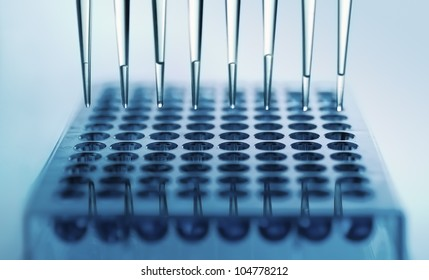 pipette dispensing samples in a deep well plate