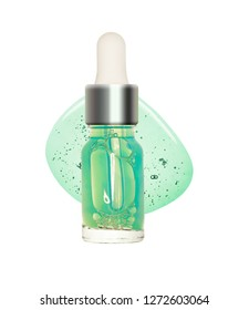 Pipette serum or cosmetic oil background glass bottle