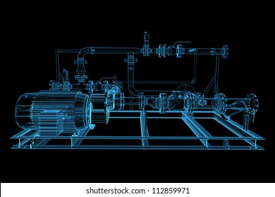 Piping (3D xray blue transparent)