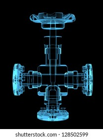 Piping (3D x-ray blue transparent isolated on black)