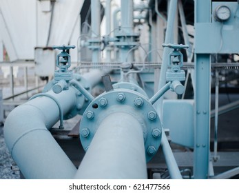 piping with flages and valve in factory