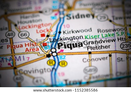 Piqua Ohio Usa On Map Stock Photo Edit Now 1152385586 Shutterstock