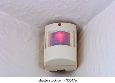 A PIR motion sensor, part of a home burglar alarm system.