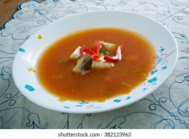 Pira caldo  fish soup that is part of the traditional cuisine of Paraguay.