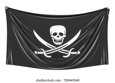 Piracy flag hanging on the wall, 3D rendering