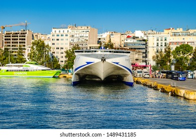 Piraeus, Athens, Greece - June 2016: Seajets Champion jet 1 in the Port of Piraeus. Seajets owns the largest fleet operating in the Aegean and offers the fastest way to travel to Cyclades islands