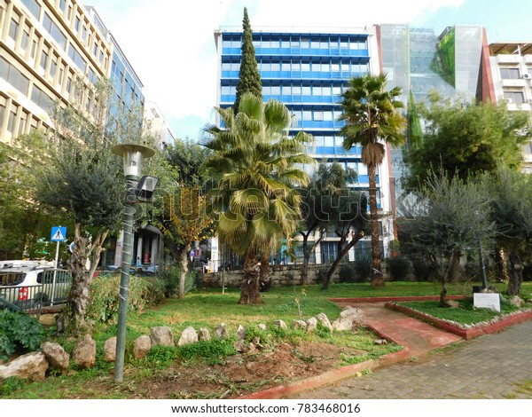 Piraeus center buildings and park