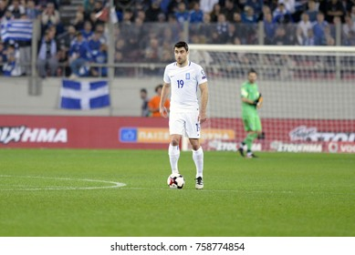 Piraeus Geece Nov.12, 2017 Player Sokratis Papastathopoulos of the Greek national football team during the mach Greece vs Croatia -Stadio Georgios Karaiskakis near Athens.