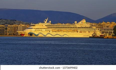 PIRAEUS, GREECE, APRIL 18, 2019. Cruise ship AIDA VITA of the company AIDA cruises, docked at the port of Piraeus, Greece.