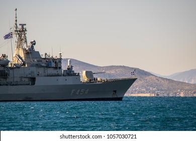 PIRAEUS, GREECE: DECEMBER 06, 2017: A greek military naval battleship in the open sea.