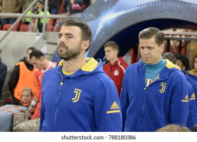 Piraeus, Greece - December 5, 2017: Juventus player Andrea Barzagli and Wojciech Szczsny before the UEFA Champions League game between Olympiacos vs Juventus at G. Karaiskakis stadium