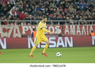 Piraeus, Greece - December 5, 2017: Juventus player Andrea Barzagli during the UEFA Champions League game between Olympiacos vs Juventus at G. Karaiskakis stadium
