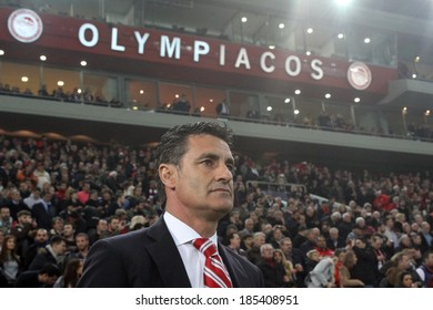 PIRAEUS GREECE -FEB. 25:Olympiakos coach Michel before the game against  Manchester Unitedfor  the UEFA Champions League Last 16, at the Karaiskaki stadium in Piraeus on February 25,2014