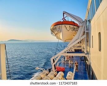 Piraeus, Greece - July 2, 2018. Deck of a ferry ship with lifeboat crossing the Mediterranean sea. Attica region, Greece.