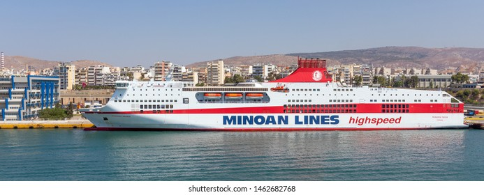 PIRAEUS, GREECE - JULY 7, 2019: Ferry boat Mykonos Palace in Piraeus port on July 7, 2019. Mykonos Palace is 214 m long, has a capacity of 2200 passengers and 900 cars.
