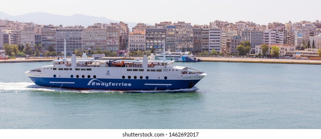 PIRAEUS, GREECE - JULY 7, 2019: Ferry boat Achaios in Piraeus port on July 7, 2019. Built in 2007 Achaios has a capacity of 1000 passengers and 140 cars.
