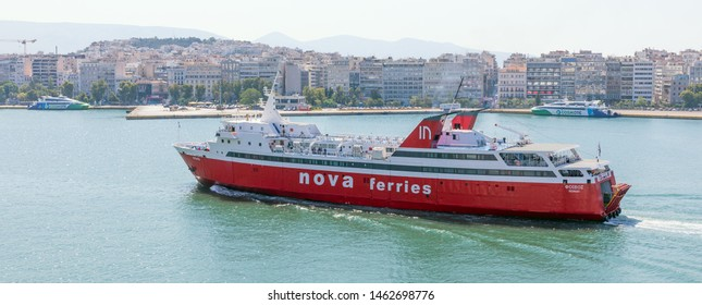 PIRAEUS, GREECE - JULY 7, 2019: Ferry boat Phivos in Piraeus port on July 7, 2019. Phivos is 99 m long and has a gross tonnage of 3437 tons.
