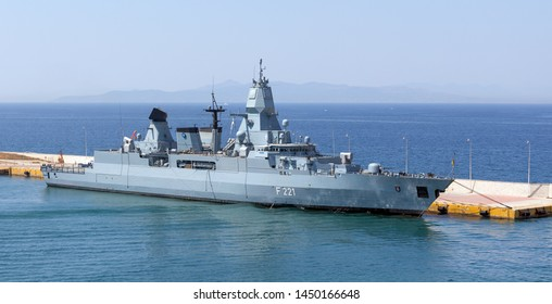 PIRAEUS, GREECE - JULY 7: German frigate Hessen docked in Piraeus port on July 7, 2019. Hessen is the third and final ship of the Sachsen class to be  commissioned into the German Navy.