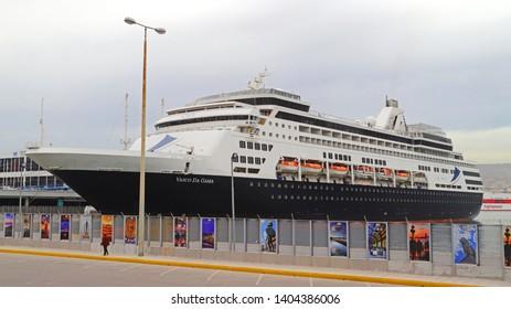 PIRAEUS, GREECE, MAY 22, 2019. Luxury cruise ship VASCO DA GAMMA (former Pacific Eden of P&O) of the company CMV, docked at the port of Piraeus, during her maiden voyage as VASCO DA GAMMA.