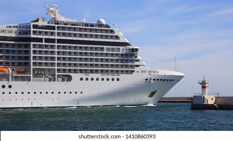 PIRAEUS, GREECE, MAY 29, 2019. Luxury cruise ship MSC MUSICA of the company MSC, departing from the port of Piraeus, Greece.