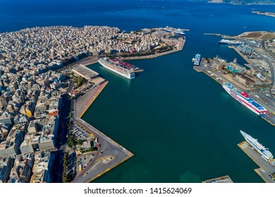 Piraeus, Greece - May 30, 2019: Aerial drone panoramic photo of Piraeus and the famous port in Attica, Greece. The port of Piraeus is the chief port in Greece, the largest passenger port in Europe