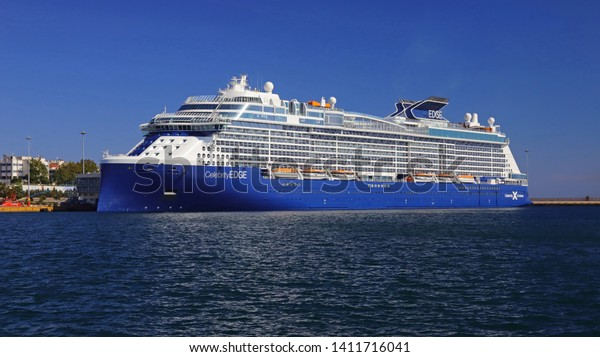 PIRAEUS, GREECE, MAY 30, 2019. Luxury cruise ship CELEBRITY EDGE of the company CELEBRITY, docked at the port of Piraeus, Greece.