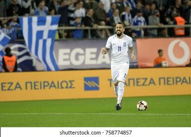 Piraeus Greece Nov.12, 2017 Player with the ball Kostas Mitroglou, of the Greek national football team during the mach Greece vs Croatia -Stadio Georgios Karaiskakis near Athens.
