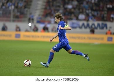 Piraeus Greece Nov.12, 2017 Player Luka Modric of the Croatia national football team during the mach with Greece - Stadio Georgios Karaiskakis near Athens.