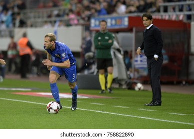 Piraeus Greece Nov.12, 2017 Player Ivan Strinic and coach Dalij Zlatko  of the Croatia national football team during the mach with Greece - Stadio Georgios Karaiskakis.