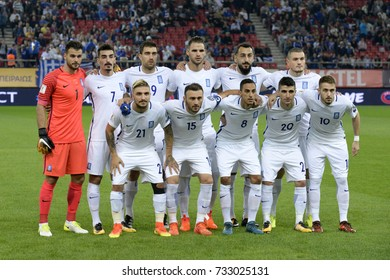 PIRAEUS GREECE OCT 10, 2017 The Greek National football team poses for the photographers before the European qualifying match between Greece and Gibraltar at Georgios Karaskaikis stadium..