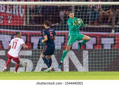 Piraeus, Greece - October 22, 2019: Goalkeeper of Bayern Manuel Neuer in action during the UEFA Champions League game between Olympiacos vs Bayern at Georgios Karaiskakis stadium
