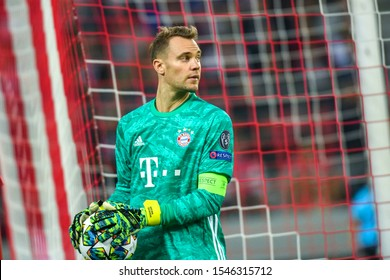 Piraeus, Greece - October 22, 2019: Goalkeeper of Bayern Manuel Neuer in action during the UEFA Champions League game between Olympiacos vs Bayern at Georgios Karaiskakis stadium