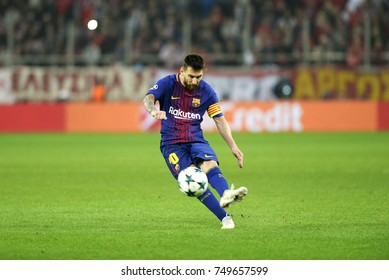 Piraeus, Greece October 31, 2017.  Lionel Messi pictured during  the champion league football game between Olympiakos vs Barcelona on Georgios Karaiskakis stadium in Piraeus port, near Athens.