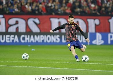 Piraeus, Greece October 31, 2017.  Lionel Messi pictured , in Karaiskaki stadium befor the champion league football game between Olympiakos vs Barcelona.