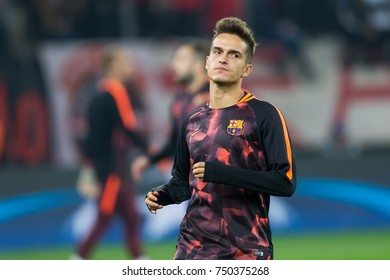 Piraeus, Greece - October 31, 2017: Player of Barcelona Denis Suarez in action during the UEFA Champions League game between Olympiacos vs FC Barcelona at Georgios Karaiskakis stadium