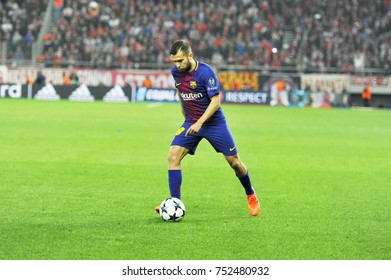 Piraeus, Greece October, 31, 2017. Barcelona's Jordi Alba (18) with the ball in the champions league football match Olympiacos vs Barcelona in Piraeus.