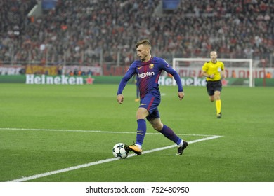 Piraeus, Greece October, 31, 2017.  Barcelona's Gerard Deulofeu (16) with the ball in the champions league football match Olympiacos vs Barcelona in Piraeus.